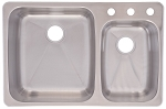 FRANKE ST ST 33 1/4x 22in. Dualmount DBL Sink MD# C2233R/9