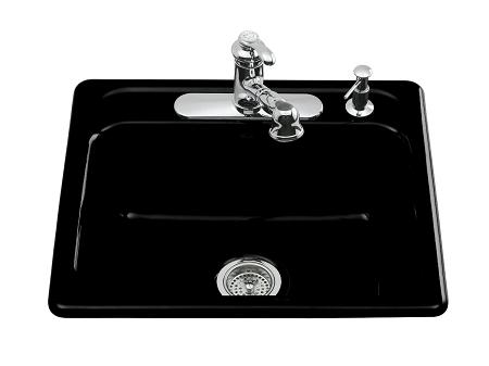 Home U003e KITCHEN U003e Kitchen Sinks U003e Kitchen Sink Faucets U003e KOHLER Mayfield  Self Rimming Sink, Black Black MD# K5964 4 7