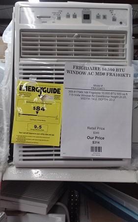 FRIGIDAIRE 10,000 BTU WINDOW AC MD# FRA103KT1